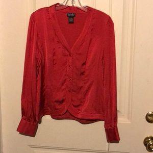 NWT Rafaella Red Scallop Edged Button Up Blouse 8